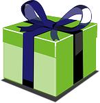 caixa de presente verde e azul